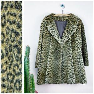 VTG 60/70s Astraka WWF Faux Fur Leopard Print Coat